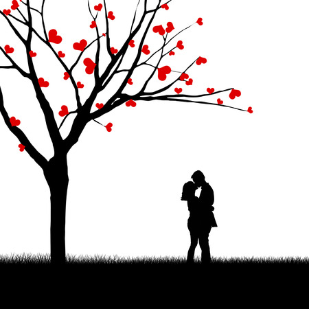 young tree: Silhouette of a couple kissing beside a love tree Stock Photo