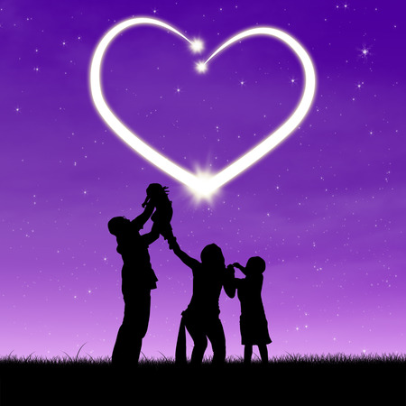 happiness people silhouette on the sunset: Silhouette of a happy family with shiny heart on the night sky