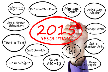 Closeup of hand writes the resolutions list of 2015 on whiteboard photo