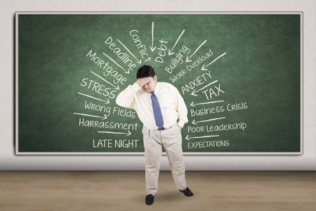 fat man: Stressful overweight businessman thinking his problems and getting headache Stock Photo