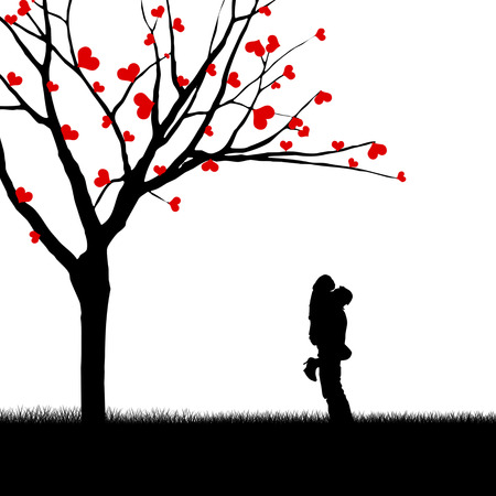 adoration: Silhouette of a couple hugging near a love tree Stock Photo