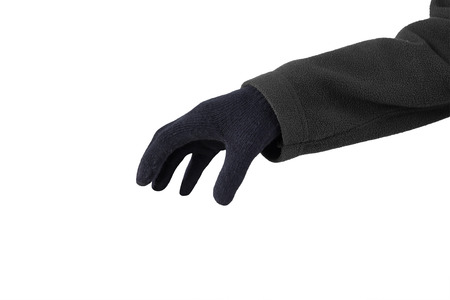 to steal: Closeup of hand wearing black gloves and ready to steal something Stock Photo