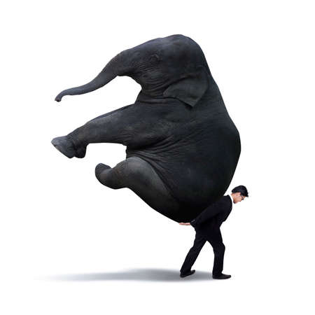 difficult task: Images of businessman lifting heavy elephant isolated on white