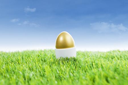Golden easter egg standing on the grass under blue sky photo