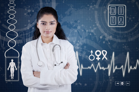 Portrait of female doctor standing in front of medical futuristic screen at the hospital photo