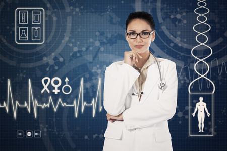 general pediatrician: Portrait of female doctor standing in front of virtual medical background in the hospital
