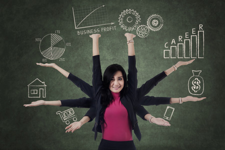 allocation: Multitasking businesswoman with eight hands holding priority things
