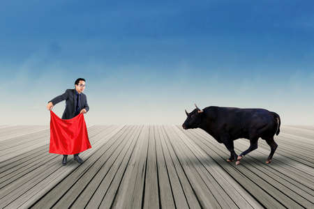 bull fight: Professional businessperson using a red cloth to fight with a bull outdoors