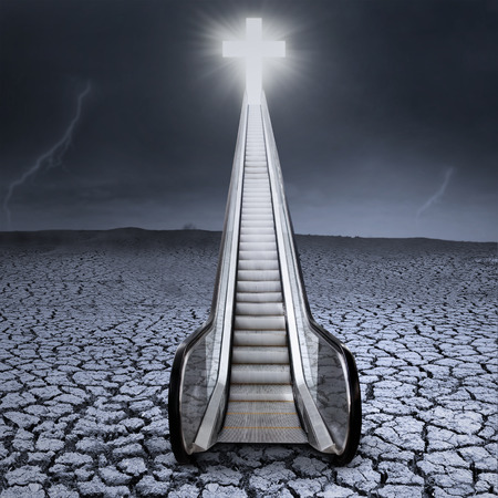 heaven light: An escalator to the cross on dry land with cloudscape