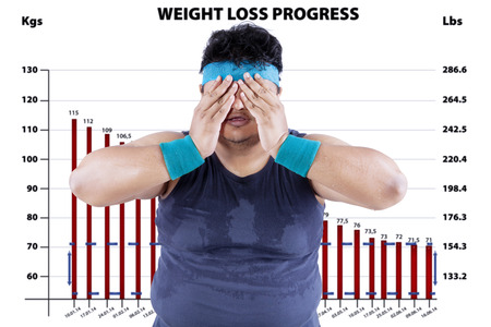 Overweight man with a diagram report of loss weight