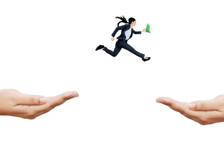 Young employee carrying business graph running rush through hands to chase her aim