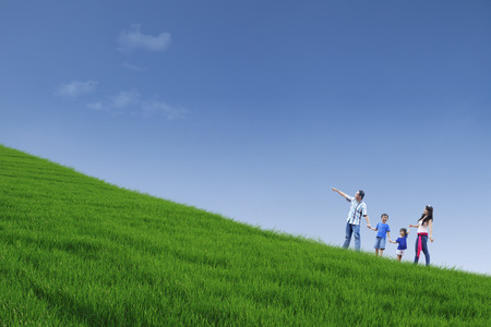 hill: Happy family is walking on green field while holding hands