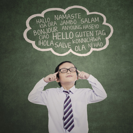 foreign: Education concept: schoolboy learn multilanguage at class