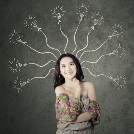 branchy: Portrait of beautiful smart student with branchy mind to find a solution