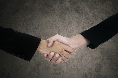 sales executive: Closeup of two hands of entrepreneurs shaking hands each other, symbolizing a deal