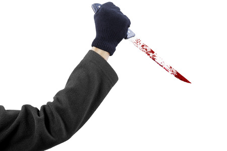 stab: Closeup of man holding a sharp and bloody knife to stab, isolated on white background