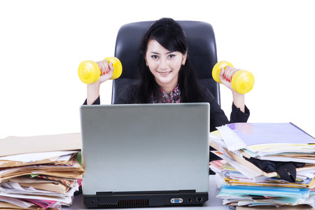 Business woman working and workout. Isolated on white background