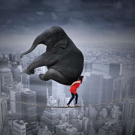 businesswoman: Portrait of woman carrying heavy elephant while walking on the rope over a big city Stock Photo