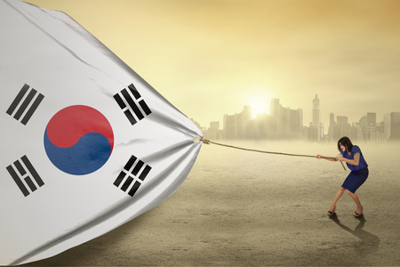 south asian ethnicity: Portrait of young businesswoman pulling a south korean flag, shot outdoors Stock Photo