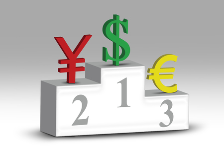third world economy: The grade position of currency symbols of dollar, euro, and yen