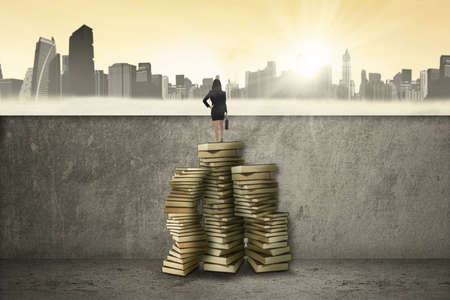 business education: Young businesswoman using a pile of books to through a wall and looking at the city Stock Photo