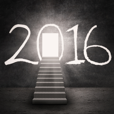 creative idea: Image of a shining door with numbers 2016 and a stairway. Concept of a door toward the future
