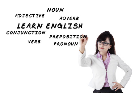 adjective: Female teacher writes english language materials on whiteboard