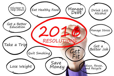 debt goals: Image of hand using marker to write new year resolutions of 2016, isolated on white background