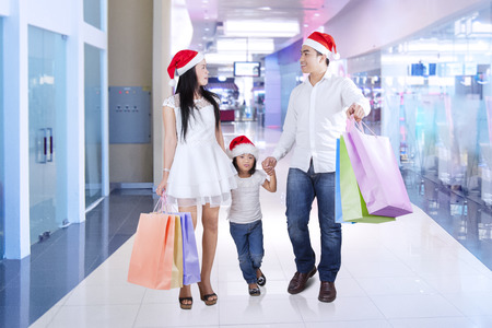 holding hands while walking: Group of happy family walking in the shopping center while carrying shopping bags and holding hands together