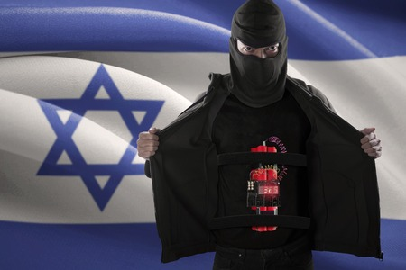 detonating: Terrorism concept: Male radical muslim showing a time bomb on his body in front of Israel flag Stock Photo