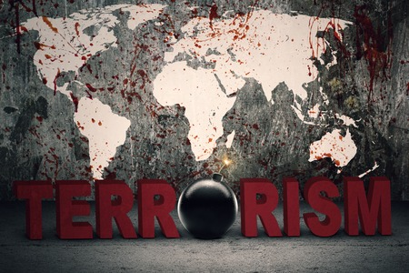 terrorism: Terrorism concept: Text of terrorism with a bomb and bloody world map background