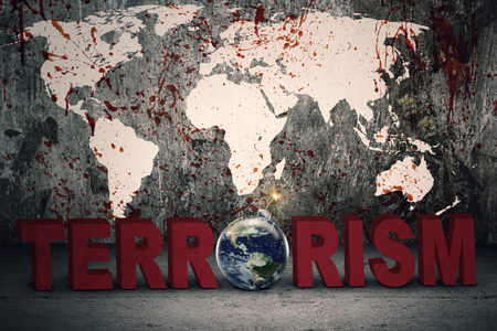 Image of bloody world map with a terrorism text. Concept of terrorism