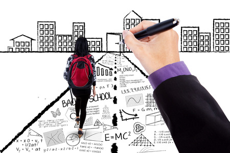 Female college student walking on a road with a hand drawing doodles to the success door