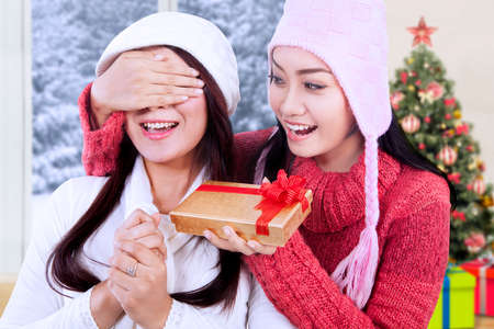 indonesian girl: Portrait of cheerful woman wearing winter clothes giving a gift on her friend at home with christmas tree background Stock Photo