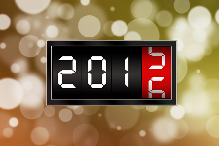 calendario diciembre: Happy new year concept with numbers 2016 and golden defocused background