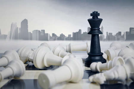 target: Business strategic formation in the chess game with city background