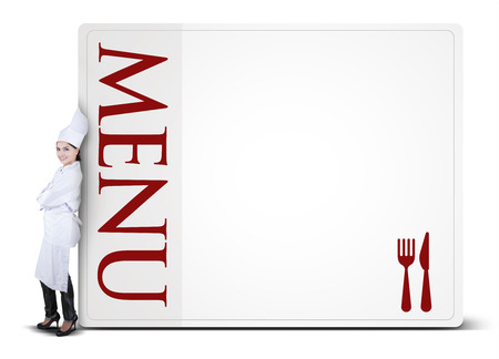white poster: Portrait of Indian chef woman leaning on the menu board, isolated on white background Stock Photo
