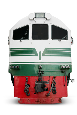 diesel locomotives: Image of diesel locomotive with red and green color, isolated on white background