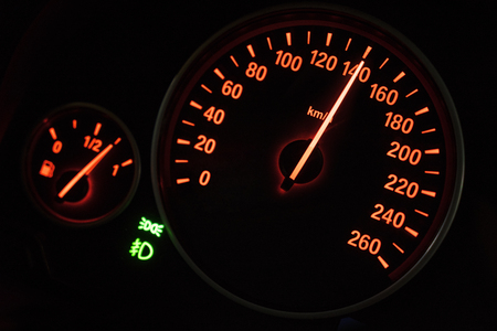 rpm: Close up of modern speedometer in car dashboard showing high rpm in high speed