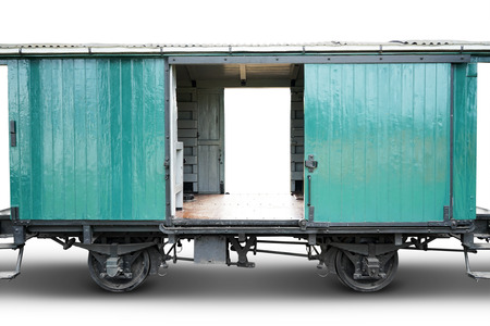freight train: Image of empty old train cargo with green color, isolated on white background