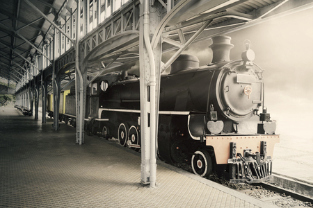railway history: Image of old steam locomotive train shot in the museum with black and white effect