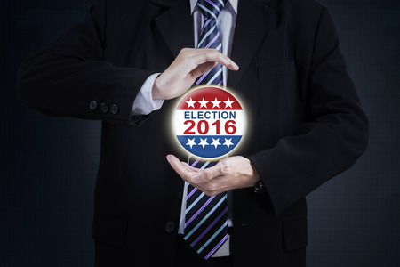 protection hands: Image of businessman hands giving protection on the election 2016 symbol