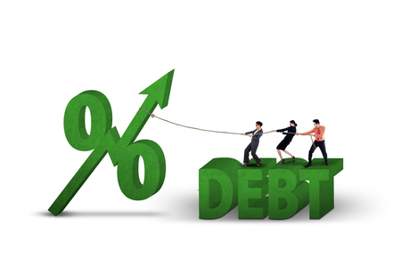 debt: Young businesspeople pull percentage symbol with upward arrow and debt word, isolated on white background