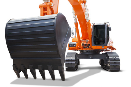 orange industry: Image of heavy scoop of a new excavator with orange color, isolated on white background Stock Photo
