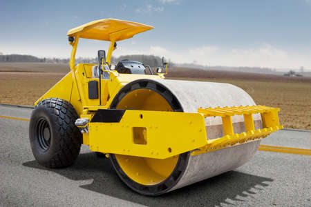 roller compactor: Image of a roller compactor machine flattens the road asphalt, shot on the road construction