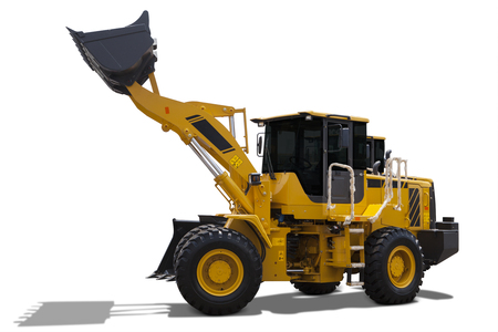 backhoe loader: Image of a big backhoe loader with yellow color lifting a steel scoop, isolated on white background