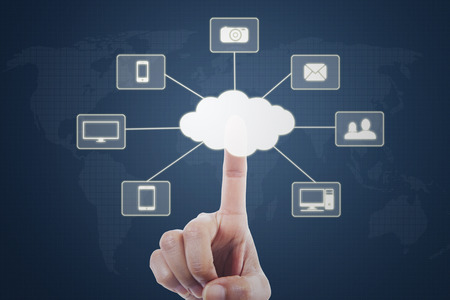 hand press: Image of hand using a virtual screen and touching Cloud Computing diagram