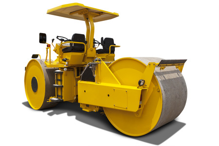 roller compactor: Image of a roller compactor machine with yellow color, isolated on white background