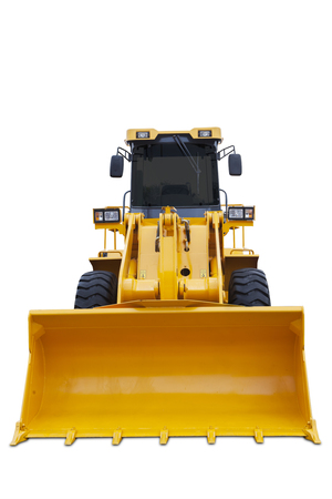 industrial machinery: Image of a big scoop of modern bulldozer with yellow color, isolated on white background