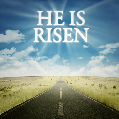 he: Empty road toward the heaven with text he is risen on the sky